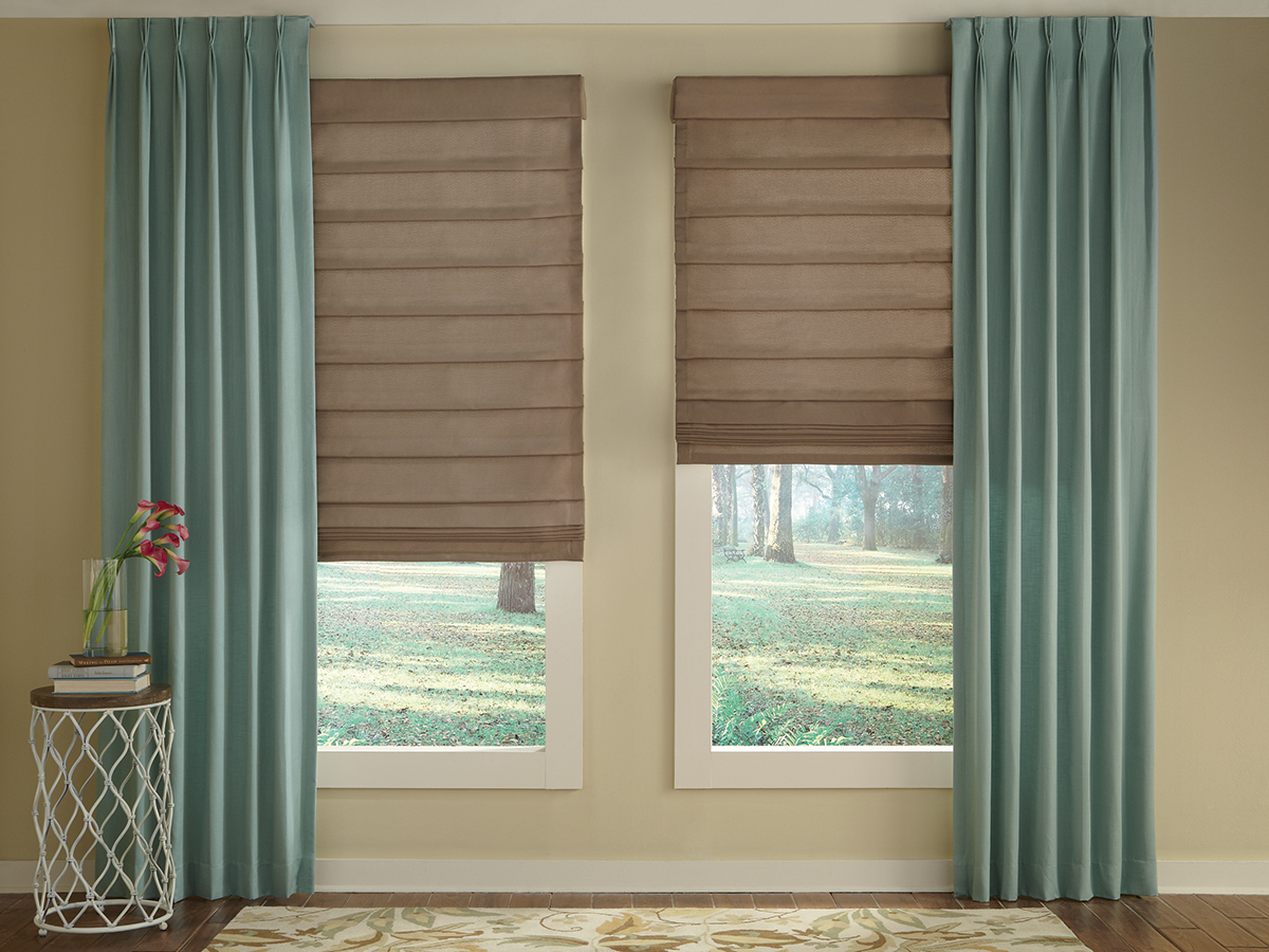 Draperies and more simply closets blinds designs for Fabric window blinds designs